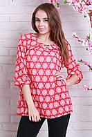 Стильная женская блуза с кругами красная