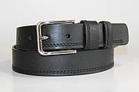 Ремень кожаный 40 мм чорного цвета прошитый двойной ниткой с одной стороны пряжка матовая рябристая