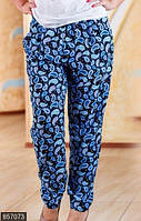 Принтованные летние женские штаны свободного кроя со средней посадкой штапель батал