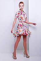 Хлопковое платье с асимметричной юбкой клеш и рубашечным воротником бежевое с цветами