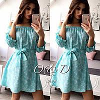"""Платье мятного цвета длины мини с принтом """"цветы """" и рукавом 3/4(арт.288381632)."""