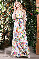 Летнее платье в пол сарафан с открытыми плечами и рукавом фонарик 42-52 размеры