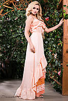 Летнее нарядное платье в пол сарафан с открытыми плечами из батиста с кружевом 42-52 размеры
