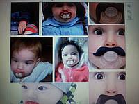 Прикольные соски-пустышки в виде усов и зубов