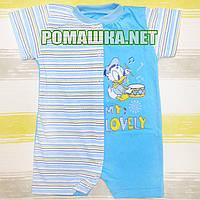Детский песочник-футболка р. 80 ткань КУЛИР 100% тонкий хлопок ТМ Алекс 3092 Голубой