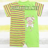 Детский песочник-футболка р. 80 ткань КУЛИР 100% тонкий хлопок ТМ Алекс 3092 Зеленый