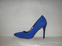 Туфли лодочки женские стильные на шпильке замшевые синего цвета