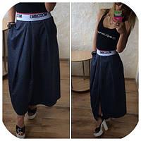 Женская юбка с внутренними карманами. Ткань трикотаж. Размеры SM. Цвет темно-синий. YS 380