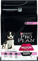 Pro Plan PUPPY MEDIUM Sensitive Skin OPTIDERMA Сухой корм для щенков средних пород с лососем и рисом - 12 кг