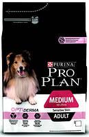 Pro Plan ADULT MEDIUM Sensitive Skin OPTIDERMA Корм для взрослых собак средних пород с лососем и рисом - 14 кг