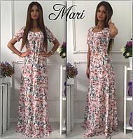 Длинное белое платье с цветочным принтом и короткими рукавами(арт.189480426)