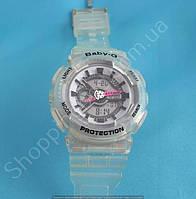 Детские часы Casio BabyG BA-111 5338 (113955) с розовыми стрелками светолбежевый серый белый водонепроницаемые