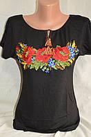 """Вышиванка-футболка в черном цвете """"Маки с колосками"""""""