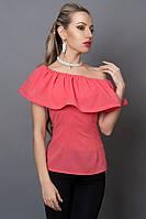 Нарядная блуза с воланами кораллового цвета, р 40-46