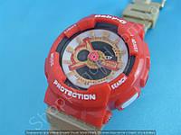 Детские часы Casio BabyG BA-111 5338 (113959) бежевые с красным водонепроницаемые с календарем и подсветкой