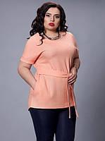 Блуза- туника пастельного цвета батальных размеров, р 52-58