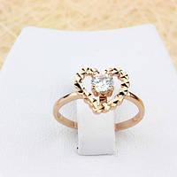 R1-0679 - Нежное кольцо Сердце с прозрачным фианитом розовая позолота, 17, 18 р.