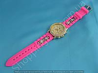 Часы 113967 женские золотистые со стразами на розовом ремешке из силикона