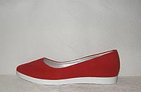Балетки женские стильные натуральная замша красного цвета