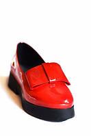 Туфли женские Рuss красные с бантом натуральная кожа