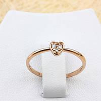 002-1278 - Нежное кольцо Сердечко с прозрачными фианитами розовая позолота, 16, 17 р.