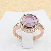 002-1282 - Перстень с лиловым и прозрачными фианитами розовая позолота, 17.5, 18 р.