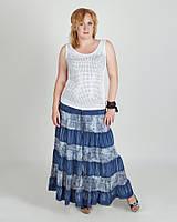 Летняя джинсовая модная макси юбка - сарафан