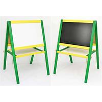 Доска мольберт большая для рисования магнитный, зеленый с жолтым, Игруша