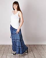 Стильная джинсовая модная макси юбка - сарафан