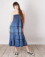 Стильный джинсовый модный сарафан - юбка