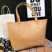 Большая женская сумка Roomy Bag бежевая