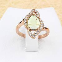 002-1290 - Чудесное кольцо со светло-зелёным и прозрачными фианитами розовая позолота, 17, 17.5 р.