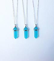 Кулон подвеска из натурального камня синий лазурный нефрит