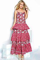 Женственный летний сарафан в пол с цветочным принтом на тонких бретелях с воланами на юбке батист