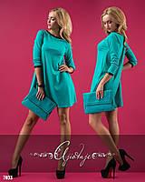 Платье-мини с отделкой из экокожи