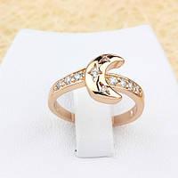 002-1303 - Чудесное кольцо Месяц с прозрачными фианитами розовая позолота, 16, 17 р.