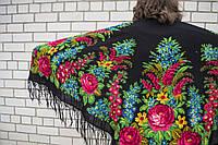 Шаль павлопосадская Аграфена хустка большая национальная традиционная украинский платок шерсть шерстяная