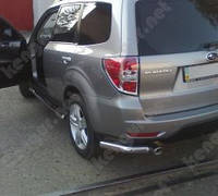 Защита заднего бампера Subaru Forester, одинарные углы