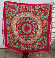Шаль платок большой павловопосадская национальная украинская красная традиционная 100% шерсть шерстяная хустка