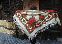 Шаль павлопосадская большой платок хустка украинская национальная традиционная 100% шерсть шерстяная