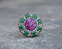 Кольцо серебряное с изумрудами и рубинами