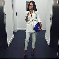 Женский летний костюм укороченные брюки + пиджак Размеры 42-44 44-46
