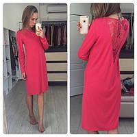 Платье прямого кроя. Трикотаж Джерси, кружево.Цвета розовый и черный. Размер S M L. ST 046
