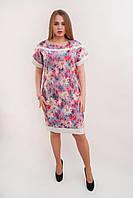 Летнее цветочное платье с отделкой из белой ткани