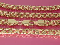 """Цепочка """"Бисмарк"""" 60 см, ширина 6 мм, с устойчивым покрытием золота Ц90."""