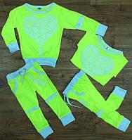 Спортивный костюм для девочек ''Шанель'', салат неон