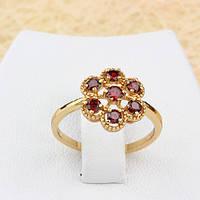 002-1320 - Изящное позолоченное кольцо Цветочек с красными фианитами, 17 р.