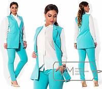 Женский деловой костюм-двойка (жилет и брюки) в больших размерах (много расцветок) x-1515428