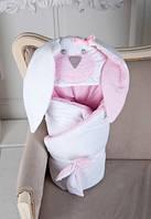 """Конверт-одеяло на выписку """"Мамина зайка"""" розовый"""