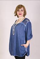 Батальная женская блуза ярких цветов, фото 1